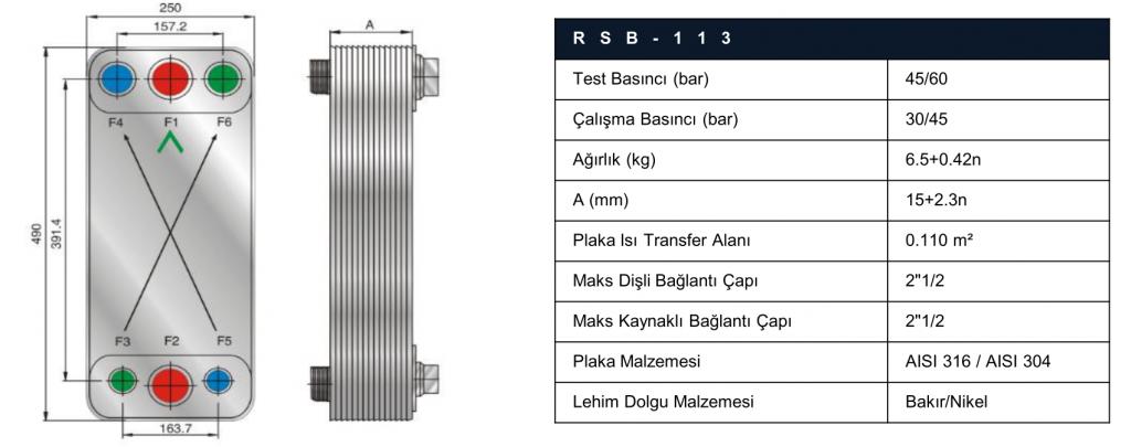 risus rsb113 lehimli eşanjör teknik özellikleri